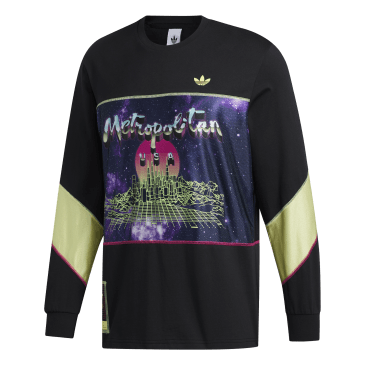adidas Metropolitan Long Sleeve T-Shirt - Black / Yellow Tint / Real Magenta