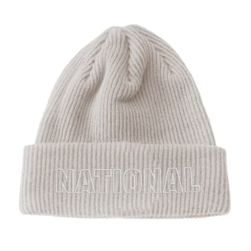 The National Skateboard Co. - Classic Text Organic Beanie - Stone