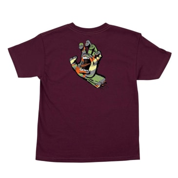 SANTA CRUZ Youth Primary Hand Tee Burgundy