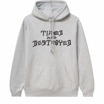 Tired x Thrasher Destroyed Hoodie - Heather Grey