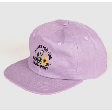 "PASS~PORT - ""DINNER FOR ONE 5 PANEL CAP"" (LAVENDER)"