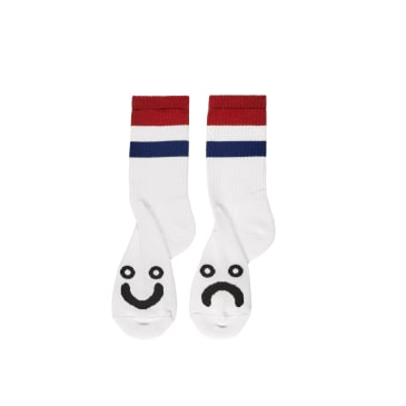 Polar Skate Co Happy Sad Socks Stripes - White / Red / Navy
