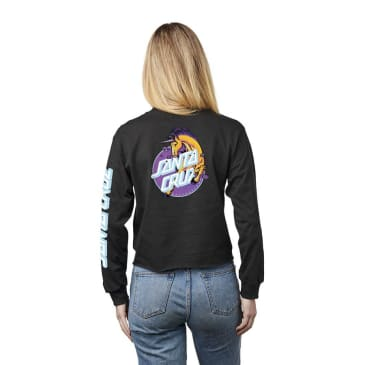 SANTA CRUZ Women's Unicorn Dot Boyfriend Crop Longsleeve Black