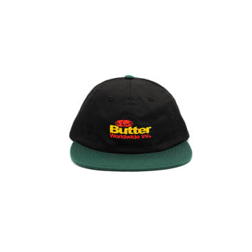 """BUTTER GOODS- """"INCORPORATED 6 PANEL CAP"""" (BLACK/FOREST)"""