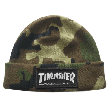 Thrasher Magazine Logo Embroidered Patch Beanie - Camo
