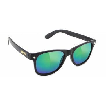 Glassy Leonard Sunglasses - Matte Black / Green Mirror