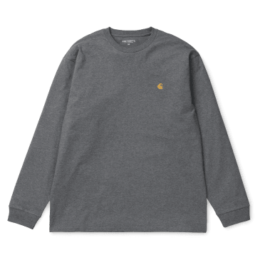 Carhartt WIP L/S Chase T-Shirt - Dark Grey Heather/Gold