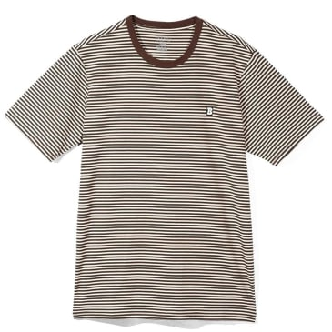 Baker Skateboards Capital B Striped T-Shirt - Brown / Off White