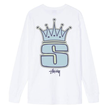 Stussy S Crown L/S T-Shirt White