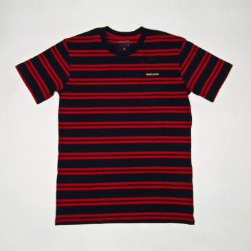 Welcome Skate Store - Striped Embroidered T-Shirt - Navy / Red