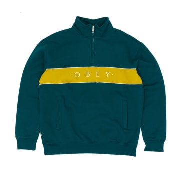 Obey Deal Mock Neck Crew - Deep Teal