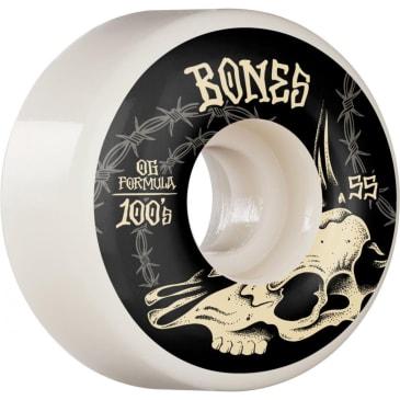 Bones - 55mm 100's V4 Desert Skull Wide Skateboard Wheels