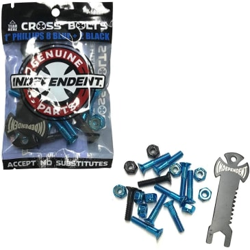 """Independent - Cross Bolts w/ Tool 1"""" Phillips Black/Blue"""