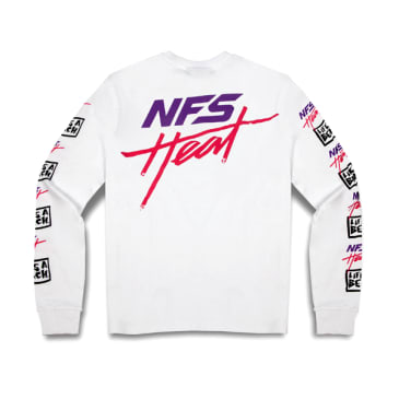 Life's A Beach x Need For Speed Repeat Logo Long Sleeve T-Shirt - White
