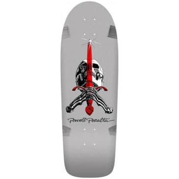 """Powell Peralta Ray Rodriguez Sword and Skull Silver Skateboard Deck - 10"""""""