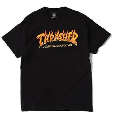 Thrasher Fire Logo T-Shirt - Black