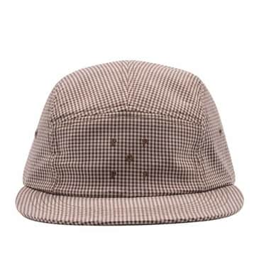 Pop Trading Company Logo 5 Panel Hat - Brown / White Gingham
