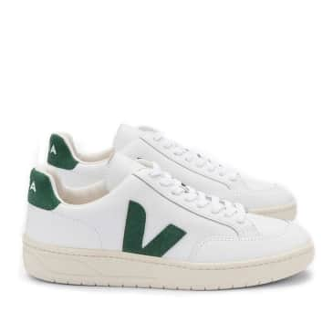Veja V-12 Leather Trainers - White / Cyprus