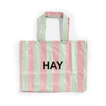 Hay Recycled Candy Stripe Shopper (Medium) - Green / Red