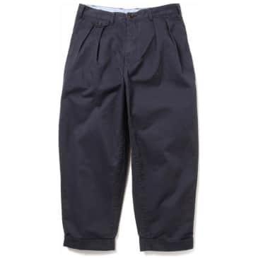 Beams Plus 2 Pleat Twill Pants - Dark Navy Blue