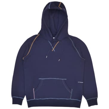 Pop Trading Company Logo Embroidered Hooded Sweat - Navy