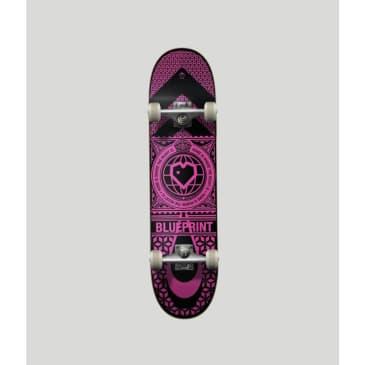 """Blueprint Skateboards Home Heart Black/Pink Complete Skateboard 7.75"""""""