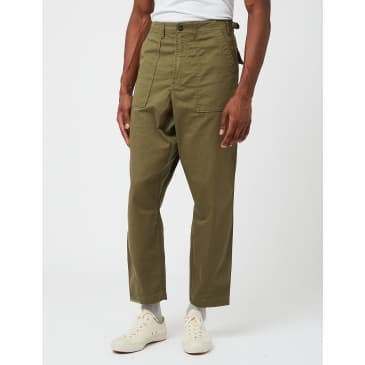 Universal Works Patched Mil Fatigue Twill Pant - Light Olive Green