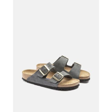Birkenstock Arizona Suede Leather (Regular, Soft Footbed) - Dark Grey