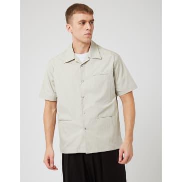 Uniform Bridge 3 Pocket Open Collar Shirt - Cream Grey