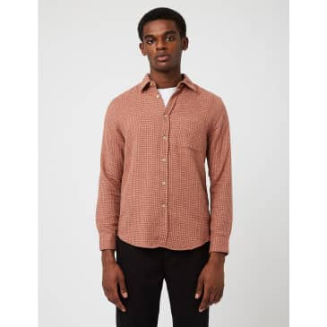 Portuguese Flannel Abstract Pied Poule Shirt - Red