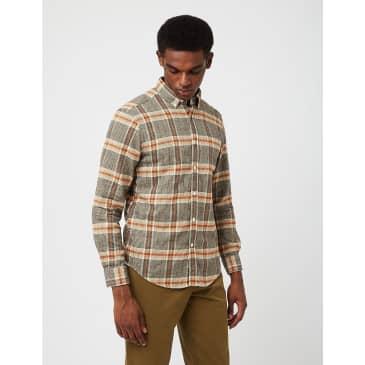Portuguese Flannel Bibliotec Check Shirt - Grey/Brick