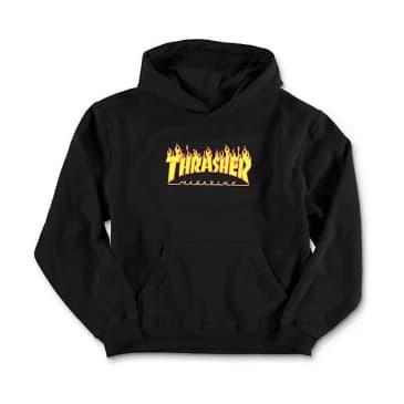 Thrasher Flame Logo Youth Hooded Pullover Sweatshirt (Black)