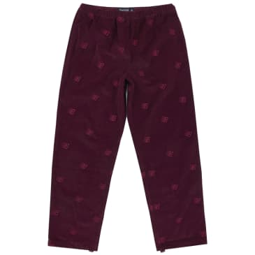 Bronze 56k Allover Embroidered Cord Pants - Maroon