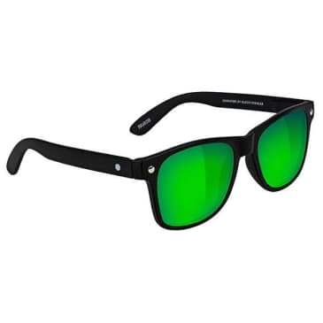 Glassy - Leonard Polarized Sunglasses - Matte Black/Green Mirror