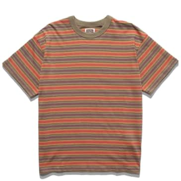 Red Ruggison 90's Striped T-Shirt - Moss / Yellow