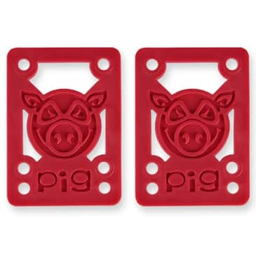 "Pig Wheels Soft Skateboard Shock Pads 1/8"" - Red"