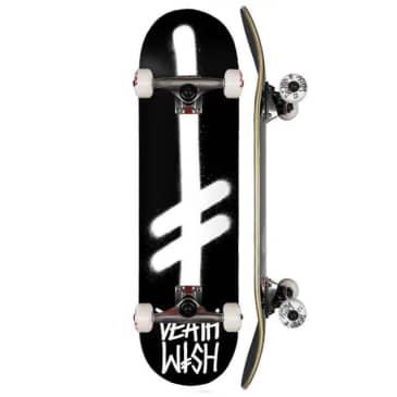 "Deathwish Skateboards - 8.0"" Gang Logo Complete Skateboard - Black / White"