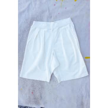 French Terry Pleated Shorts - Cream