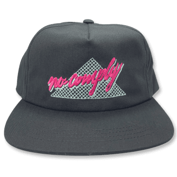 No-Comply 80's Script Snap Back Hat - Black