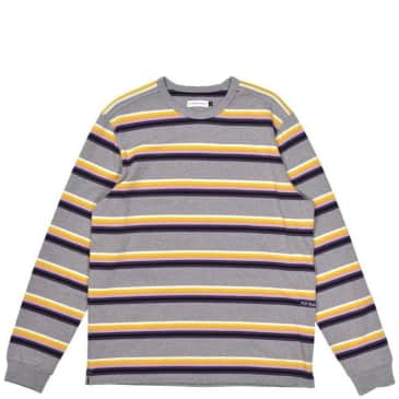 Pop Trading Company Striped Long Sleeve T-Shirt - Heather Grey / Multicolor