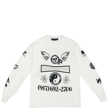 Call Me 917 Collage Long Sleeve T-Shirt - White