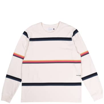 Pop Trading Company Striped Long Sleeve T-Shirt - Off White / Multicolour