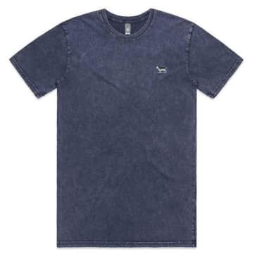 Black Sheep Embroidered Icon Tee Faded Blue Stone Wash