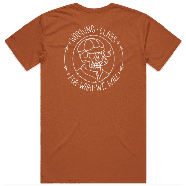 Working Class Skull Cap T-Shirt - Copper / White