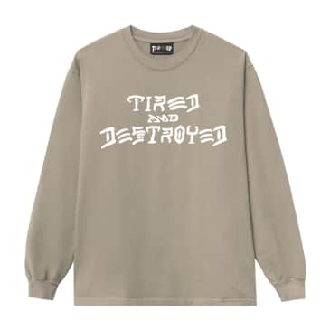 Tired x Thrasher Destroyed Long Sleeve T-Shirt - Sand