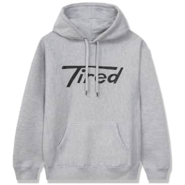 Tired Long T Logo Pullover Hoodie - Grey