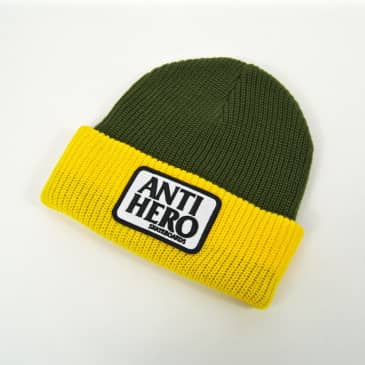 Anti Hero Skateboards - Reserve Patch Beanie - Olive / Yellow