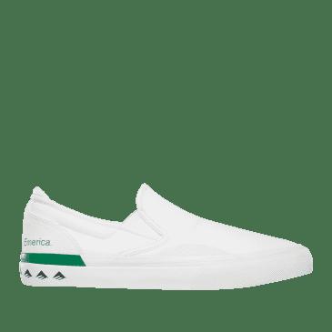 Emerica Wino G6 Slip-On Skate Shoes - White / Green