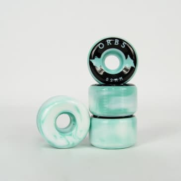 Welcome Skateboards - 52mm (99a) Orbs Specter Swirls Wheels - Teal / White