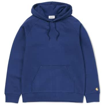 Carhartt WIP Hooded Chase Sweatshirt - Metro Blue / Gold